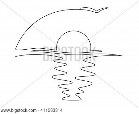 Sunset Over The Sea. Single Continuous Line Drawing. Vector Illustration. Isolated On White Backgrou