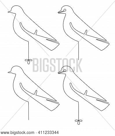 Set Of Bird Stands On One Leg. Single Continuous Line Drawing. Vector Illustration. Isolated On Whit