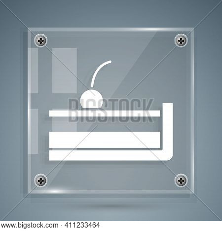 White Cherry Cheesecake Slice With Fruit Topping Icon Isolated On Grey Background. Square Glass Pane