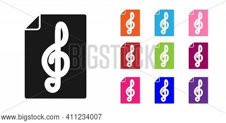 Black Treble Clef Icon Isolated On White Background. Set Icons Colorful. Vector