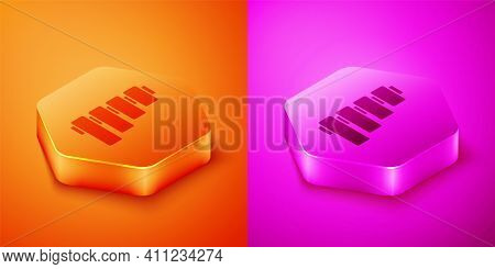 Isometric Pan Flute Icon Isolated On Orange And Pink Background. Traditional Peruvian Musical Instru