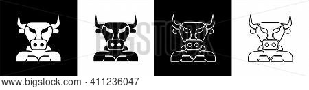 Set Minotaur Icon Isolated On Black And White Background. Mythical Greek Powerful Creature The Half