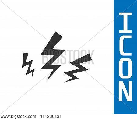 Grey Zeus Icon Isolated On White Background. Greek God. God Of Lightning. Vector