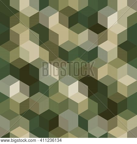Texture Military Olive And Tan Colors Forest Camouflage Seamless Pattern