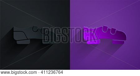 Paper Cut Triathlon Cycling Shoes Icon Isolated On Black On Purple Background. Sport Shoes, Bicycle