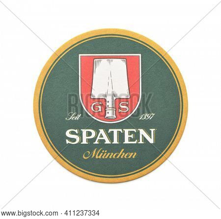Samara, Russia - March 2021. Spaten lager beer beermat coaster isolated on white