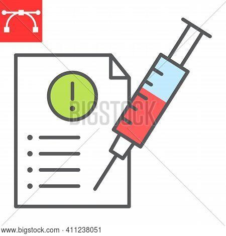 Mandatory Vaccination Color Line Icon, Covid-19 And Injection, Mandatory Vaccine Vector Icon, Vector