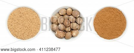 Whole Nutmegs, Freshly Grated And Powdered Nutmeg In White Bowls. Fragrant Or True Nutmeg, Dried See