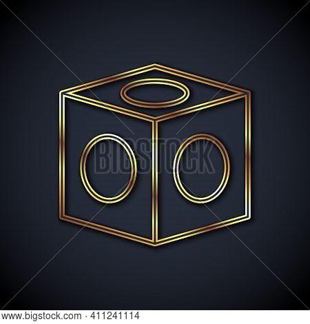 Gold Line Billiard Chalk Icon Isolated On Black Background. Chalk Block For Billiard Cue. Vector