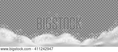 Sparkling Shampoo And Bath Lather Vector Illustration.