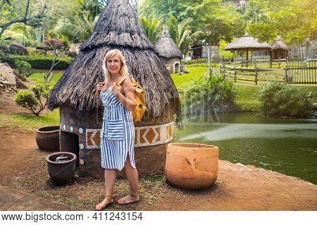 A Girl Traveler Walks On The Island Of Mauritius.valebat Casela Park, Casela Nature Valebat Faciliti