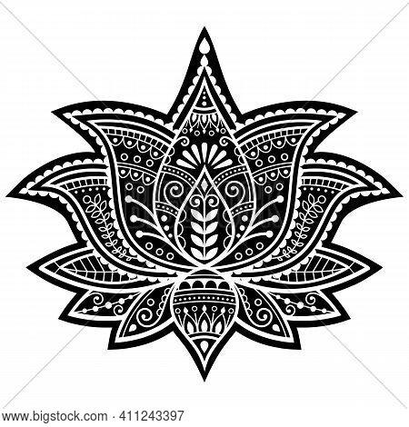 Indian Yoga Lotus Flower Vector Design, Mehndi Henna Tattoo Pattern, Zen Detailed Bohemian Greeting