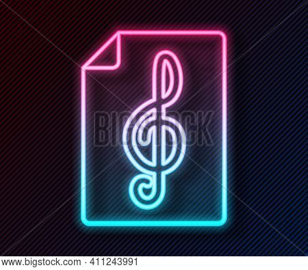 Glowing Neon Line Treble Clef Icon Isolated On Black Background. Vector