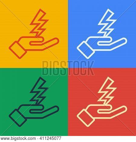Pop Art Line Zeus Icon Isolated On Color Background. Greek God. God Of Lightning. Vector