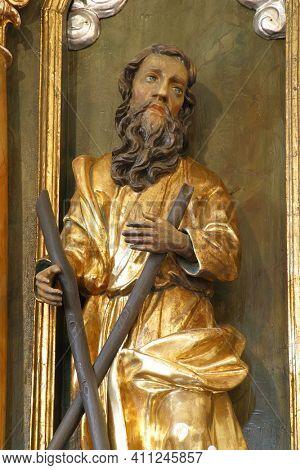 SVETI PETAR MREZNICKI, CROATIA - JULY 14, 2013: St. Andrew, statue on the high altar in the parish church of St. Peter in Sveti Petar Mreznicki, Croatia