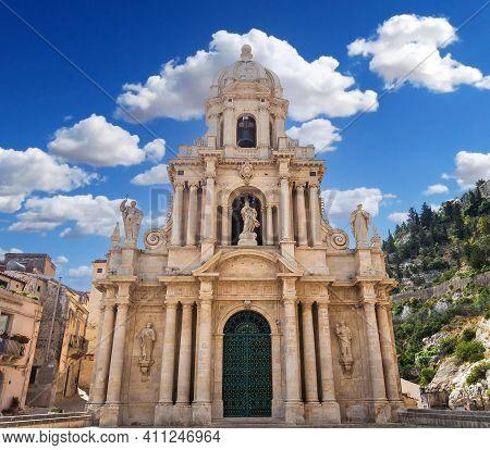 Scicli, Sicily, Italy, June 20, 2018 : Architectural Details Of San Bartolomeo Church, June 20, 2018