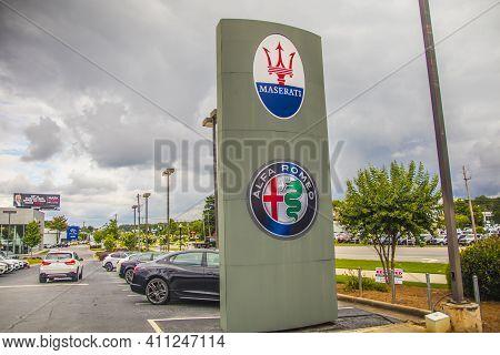 Gwinnett County, Ga / Usa - 07 06 20: Jim Ellis Mazerati Dealership Street Sign