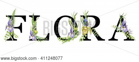 Flora Spring Alphabet. Flower Letters. Capital Elegant Letters. Flora Sign Element With Spring Garde
