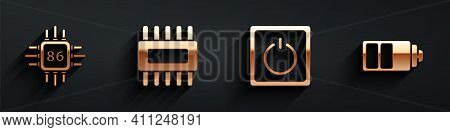 Set Processor With Microcircuits Cpu, Processor With Microcircuits Cpu, Electric Light Switch And Ba