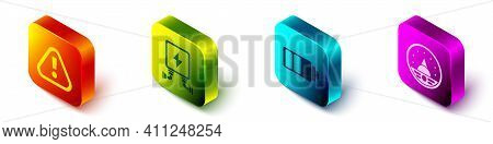 Set Isometric Exclamation Mark In Triangle, Electric Transformer, Battery Charge Level Indicator And