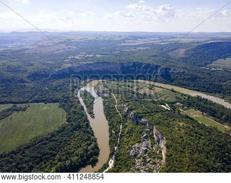 Aerial View Of Iskar River, Passing Near Village Of Karlukovo, Balkan Mountains, Bulgaria