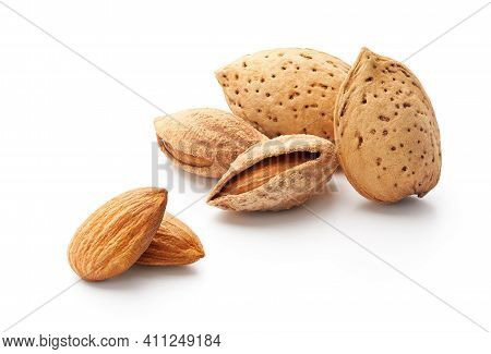 Group Of Almonds With Shell Isolated On White - Clipping Path Included