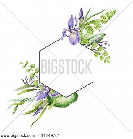 Spring Flower Frame. Bright Hand Drawn Violet Iris Flowers In Decorative Elegant Banner. Watercolor