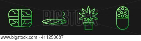Set Line Marijuana Or Cannabis Plant In Pot, Package With Cocaine, Cigar With Smoke And Medicine Pil