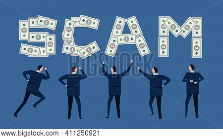 Scam Financial Money Cash In Business Investment Theft Steal And Fraud Illustration