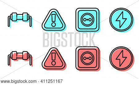 Set Line Electrical Outlet, Resistor Electricity, Exclamation Mark In Triangle And Lightning Bolt Ic