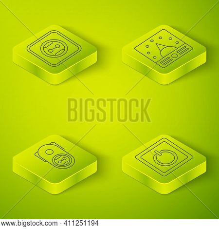 Set Isometric Ampere Meter, Multimeter, Voltmeter, Electrical Outlet, Electric Light Switch And Elec