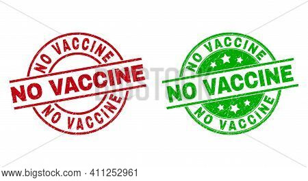 Round No Vaccine Stamp Badges. Flat Vector Textured Stamp Watermarks With No Vaccine Caption Inside