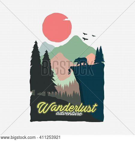 Wanderlust Adventure Vintage Poster Illustration Design, Travel Poster Design, Climbing Poster, Outd