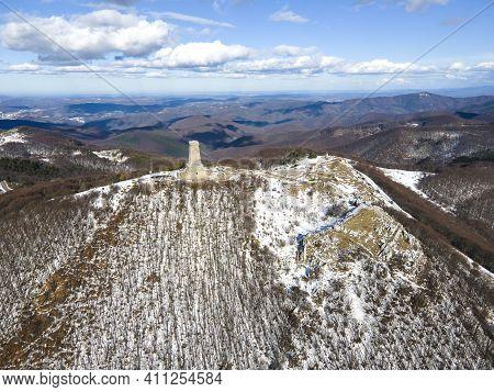 Shipka, Bulgaria - January 24, 2021: Aerial View Of Monument To Liberty Shipka At St. Nicholas Peak,