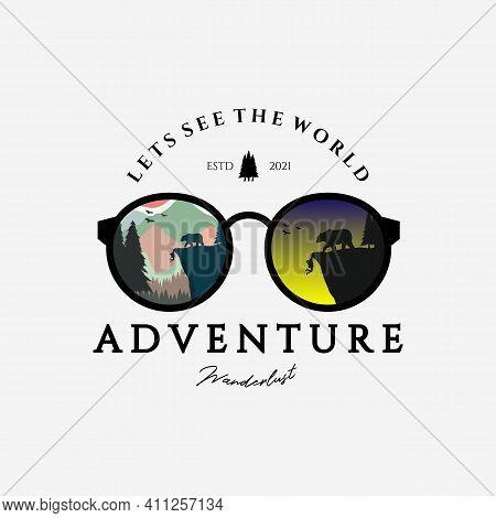 Eyeglasses Outdoor Adventure Logo Vector Design Vintage Illustration, Let's See The World, Bear Vs M