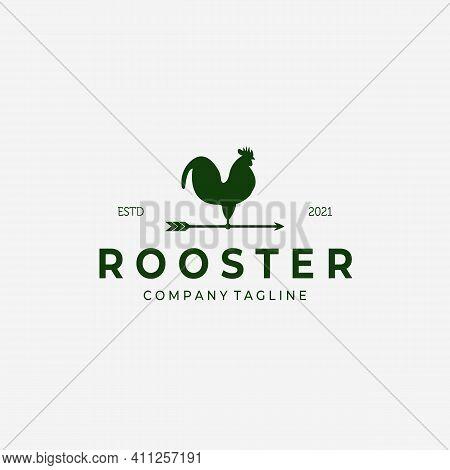Weathervane Rooster Vintage Logo Vector Design Illustration, Rooster Icon, Farm Fresh, Livestock Com
