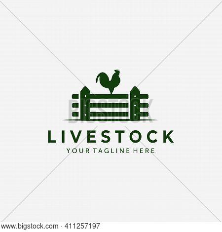 Fence Rooster Vintage Logo Vector Design Illustration, Rooster Icon, Farm Fresh, Livestock Company,
