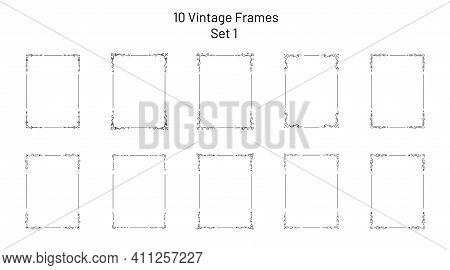 Set Of 10 Unique Retro Ornate Frames, Corner Flourishes, Collection Of Exclusive Rectangle Vignette