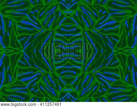 Seamless Ethnic Print. Abstract Exotic Fabric Design. Geometric African Ornament. Green Tiger Fur. Z