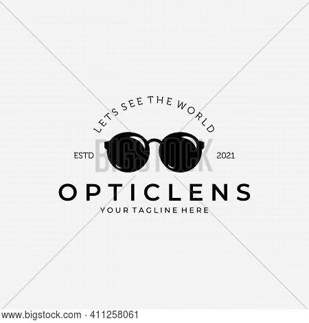 Optic Lens Logo Vector Design Vintage Illustration, Eyeglasses Logo, Glasses Vector, Lets See The Wo