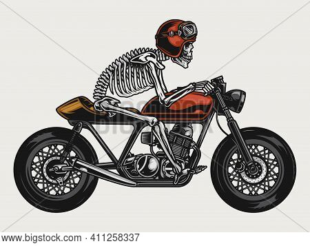 Skeleton Riding Cafe Racer Motorcycle In Vintage Style Isolated Vector Illustration