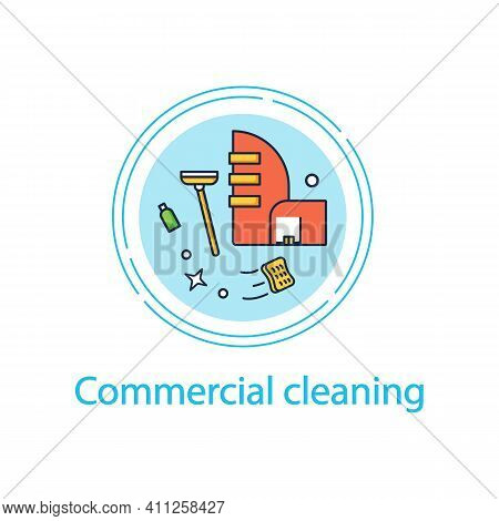 Commercial Cleaning Concept Line Icon. Dirt Removal. Mopping, Sweeping, Wiping. Office Cleanup. Prof