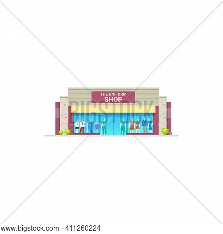 Uniform Shop Or Work Clothing Store Building, Vector Isolated. Workers Clothes And Professional Unif