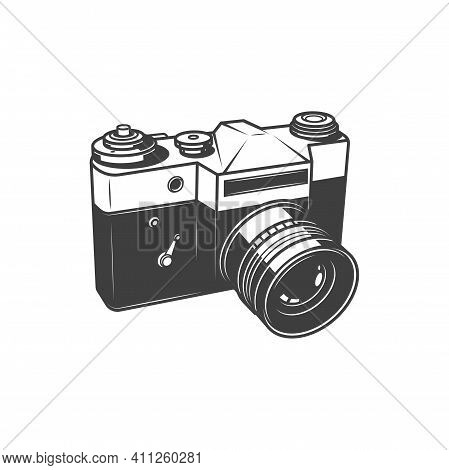 Old Photo Camera, Photography Shooting Equipment Isolated Monochrome Icon. Vector Analog Vintage Cam