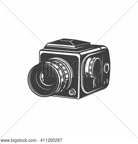 Analog Photocamera Isolated Photo Shooting Device Monochrome Icon. Vector Photographer Instrument, P