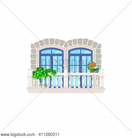 Balcony, Architecture And Vintage House Building Exterior, Vector Window And Door Facade Front. Home