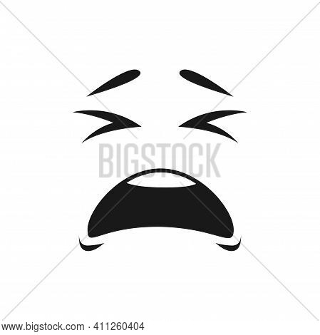 Character Face In Bad Mood Isolated Crying Emoji. Vector Crying Depressed Emoticon With Wide Open Mo