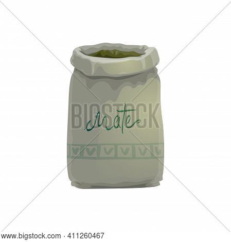 Sack Of Yerba Mate Plant Leaves Isolated Realistic Icon. Vector Bag Of Dried Branches. South America