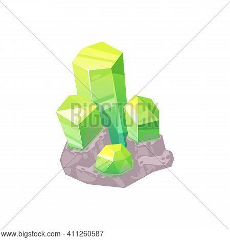 Topaz Green Mineral Isolated Shiny Natural Gem Precious Stone. Vector Mineralogy Symbol, Crystalline