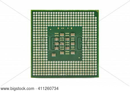 Cpu, Central Processor Unit, Isolated Background. Main Electronic Circuitry For Computer.